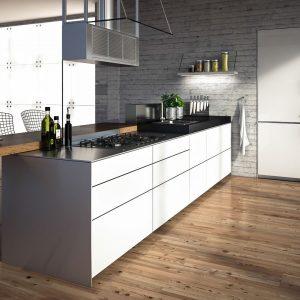 valcucine multiline inserita in un'ambiente minimal e moderno 3d render visualizzazione architettonica jonathan sabbadini