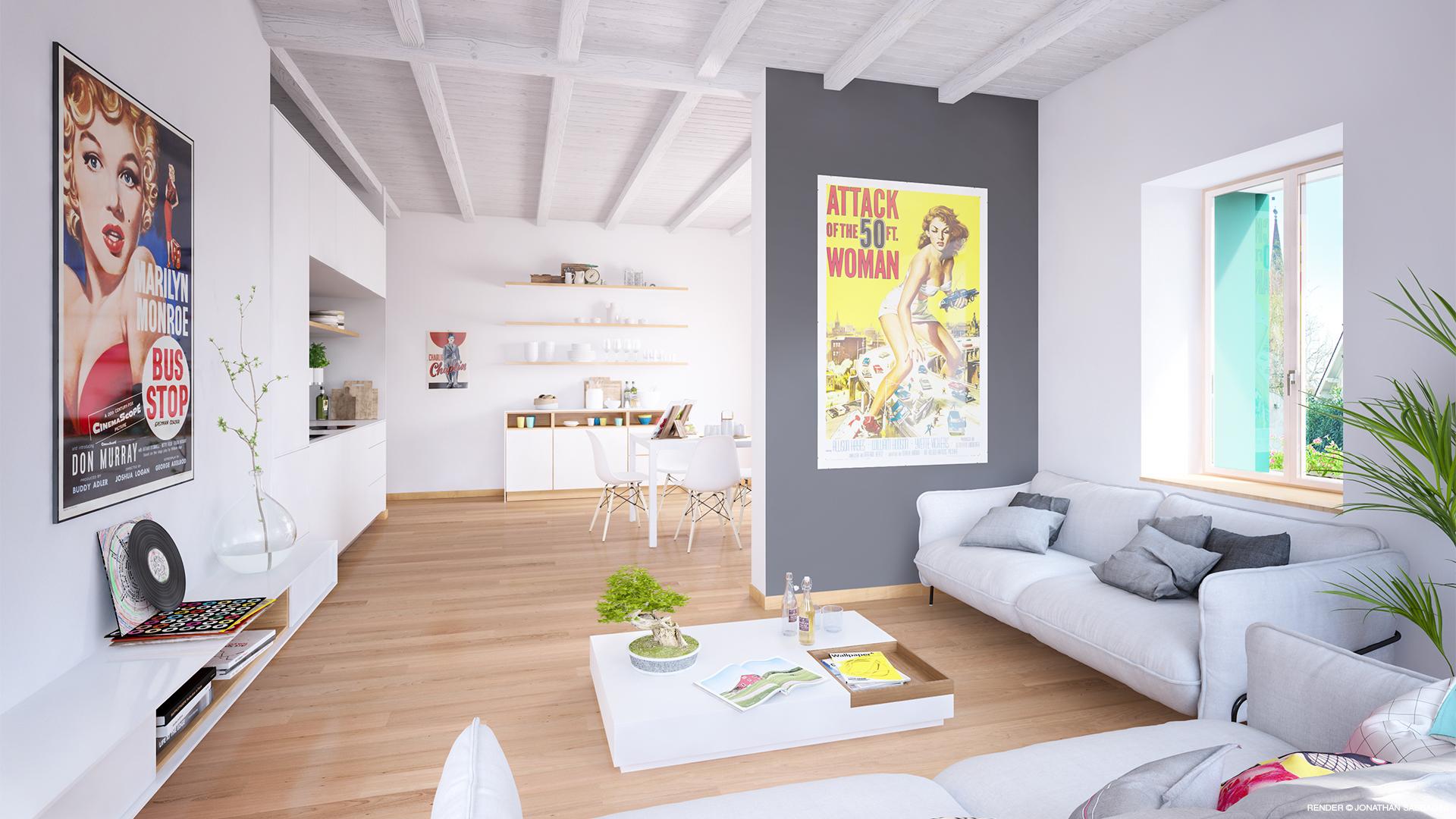 visualizzazione architettonica interno ristrutturazione immobiliare Jussy 3D rendering Jonathan Sabbadini