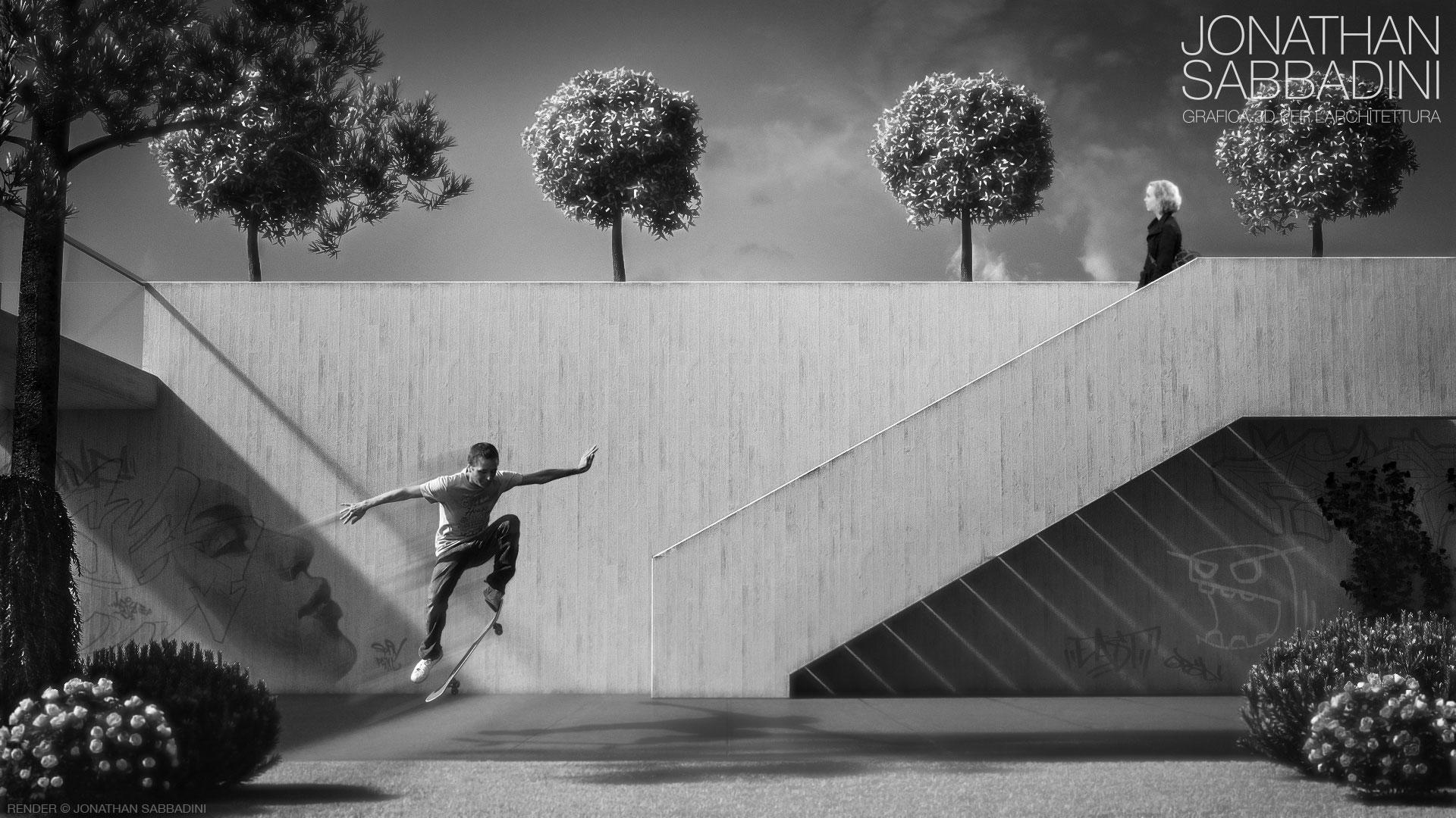 visualizzazione architettonica con materiali fotorealistici - cemento grezzo