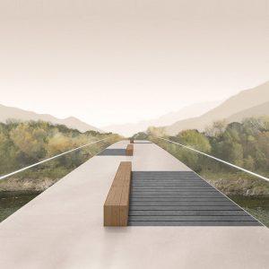illustrazione ponte sul fiume Maggia ingegner Masotti Bellinzona