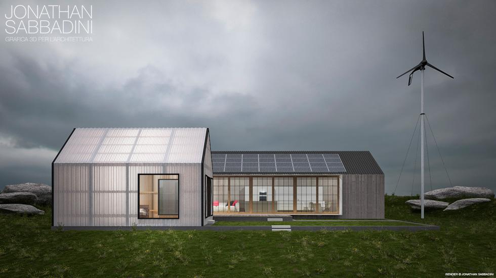 visualizzazione architettonica di bio architettura con linee moderne e materiali particolari - Jonathan Sabbadini Ticino