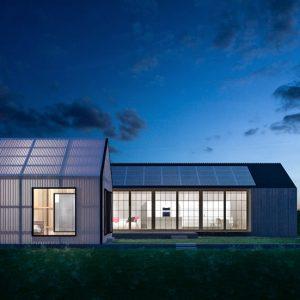 rendering notturno architettura moderna esterni