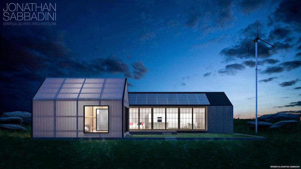 rendering notturno architettura ecosostenibile esterni