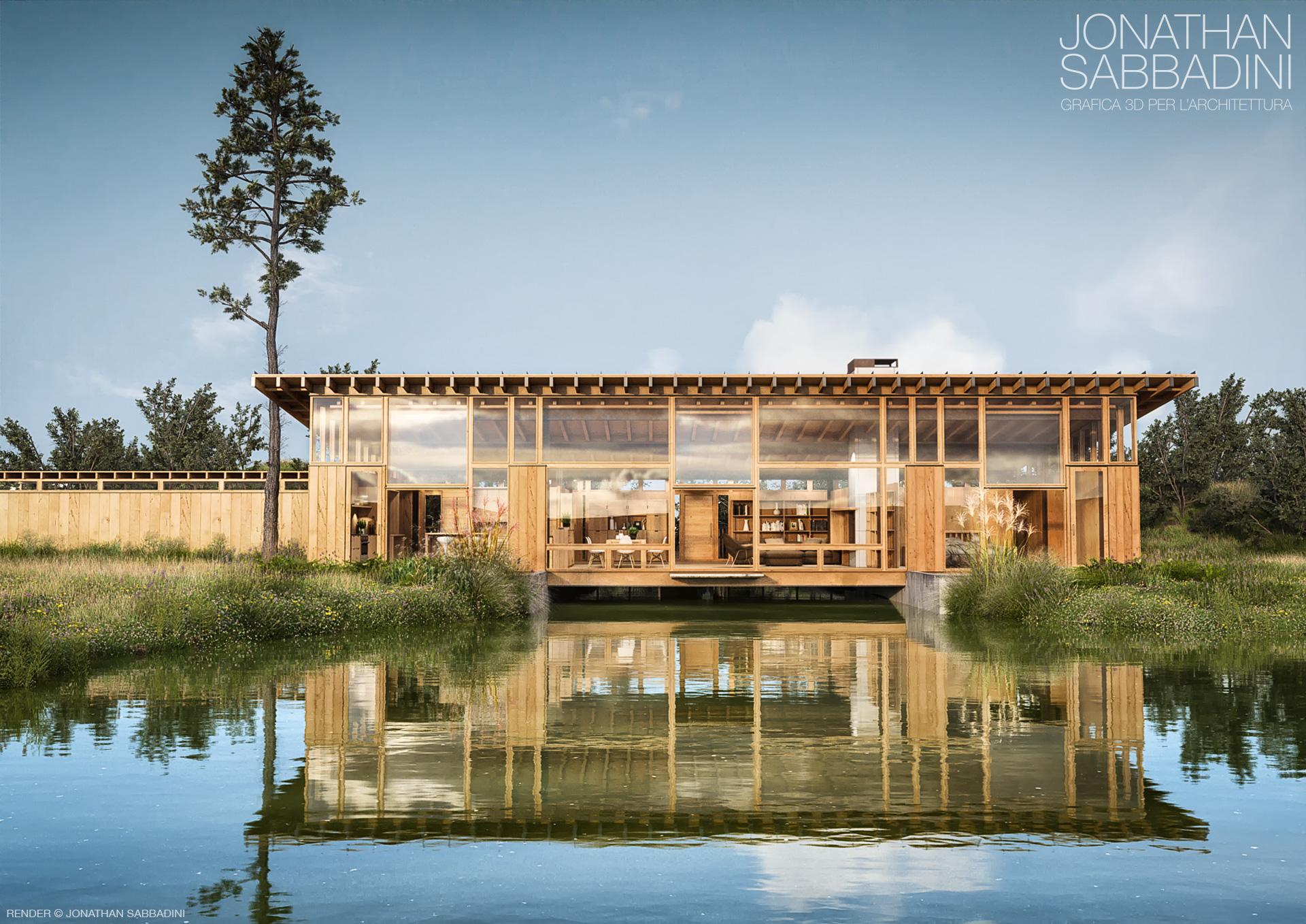La casa sul laghetto bioarchitettura 3d render for La casa nel laghetto