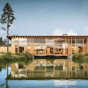 modellazione e rendering edificio legno corten vetro vegetazione