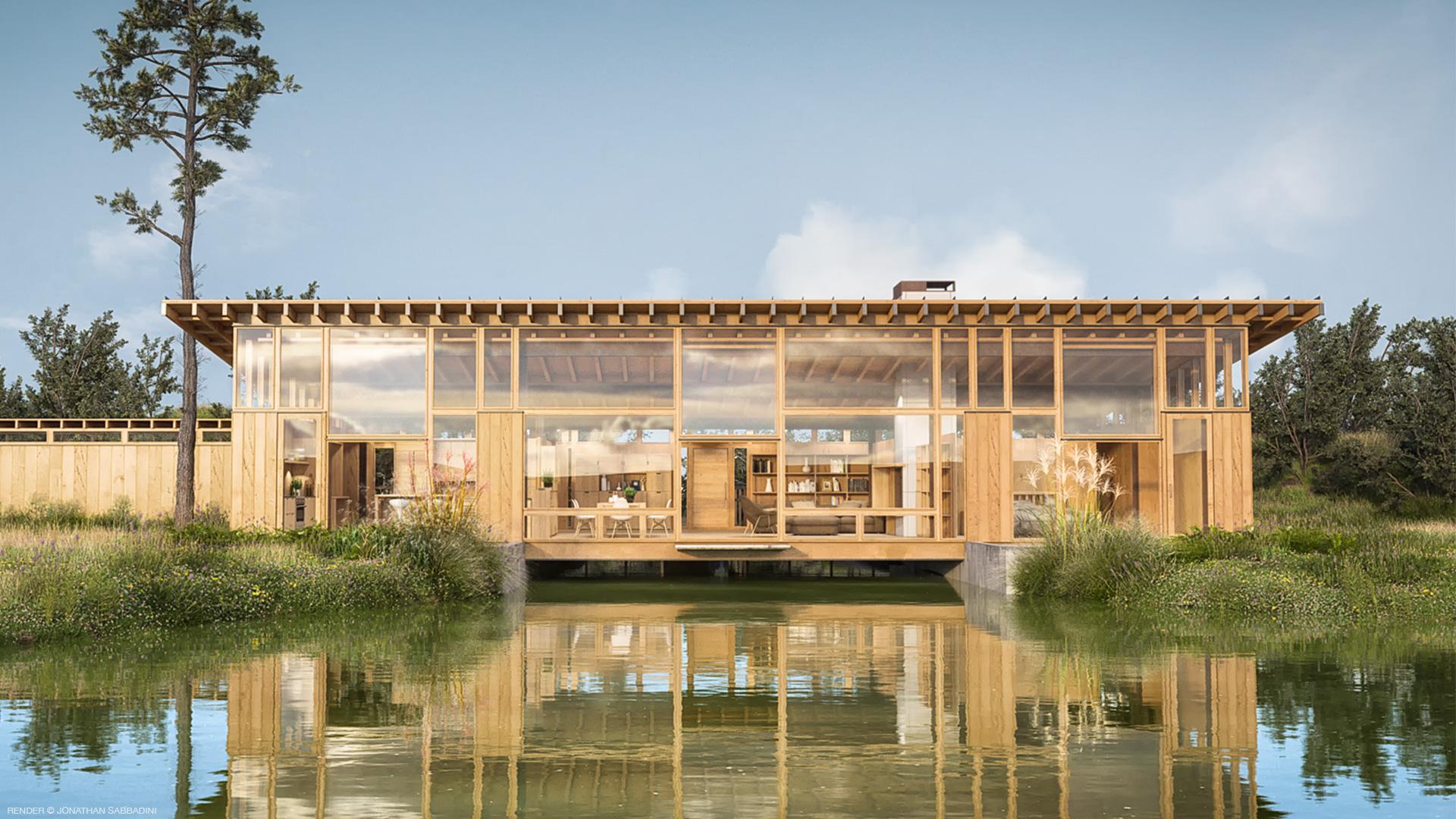 modellazione e rendering ad alto realismo di legno, vetro, vegetazione, acqua