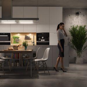 modellazione e render cucina Poliform, muro cemento a vista, pavimento resina