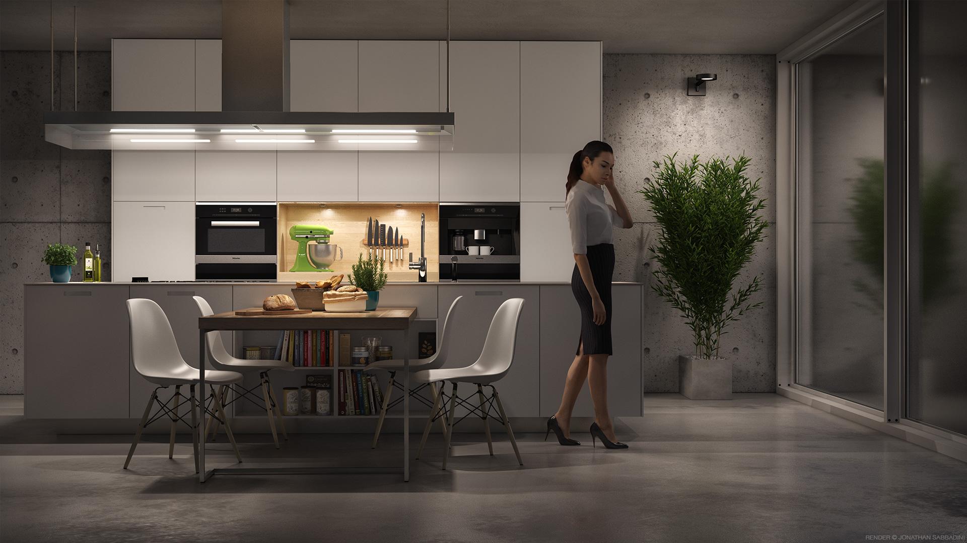 rendering fotorealistico cucina di design, cemento e resina