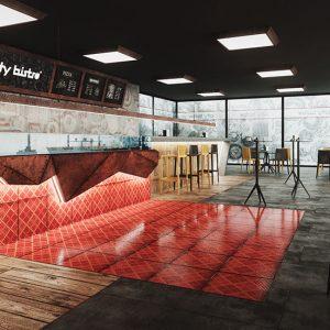 modellazione e rendering interior design bar ristorante Ticino