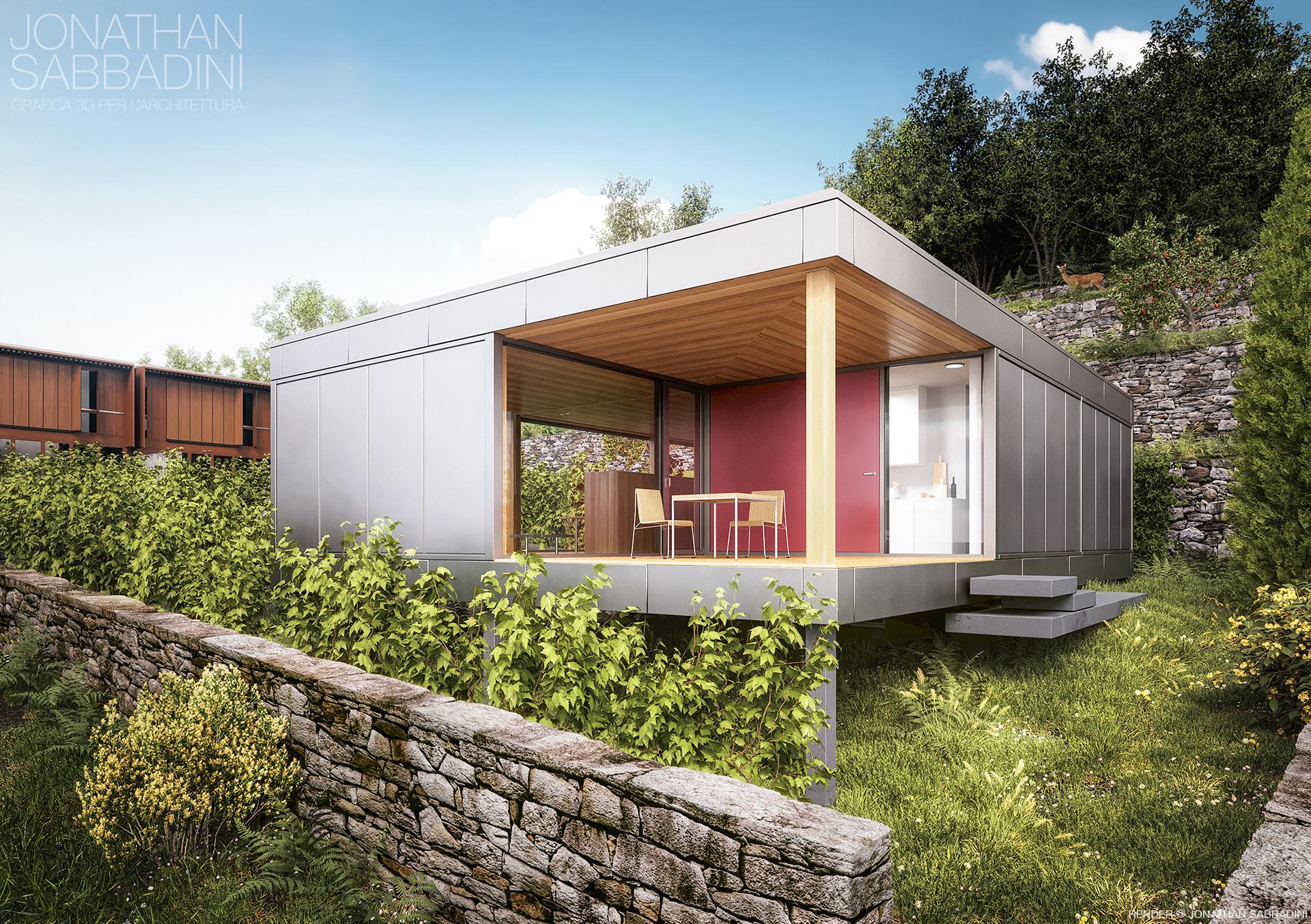 La casa nel vigneto progetto di ivano gianola render - Architettura casa moderna ...