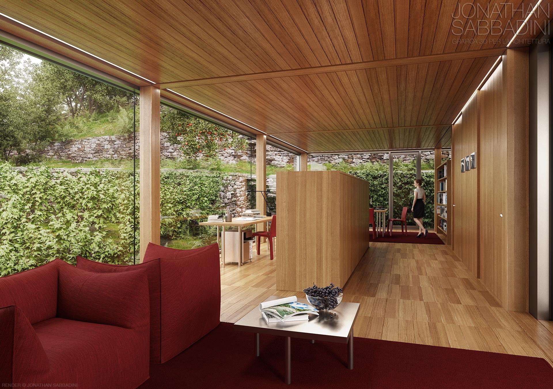 La casa nel vigneto progetto di ivano gianola render for Architetto per interni