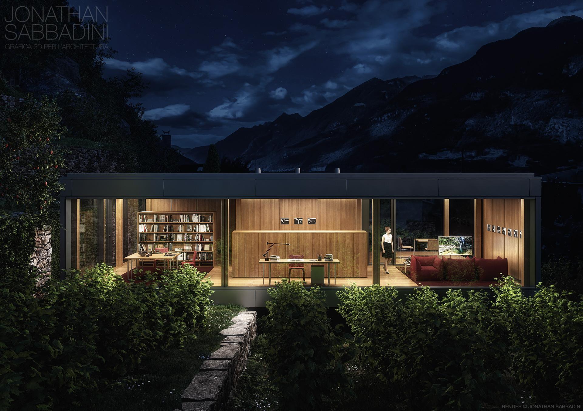La casa nel vigneto progetto di ivano gianola render for Rendering giardino