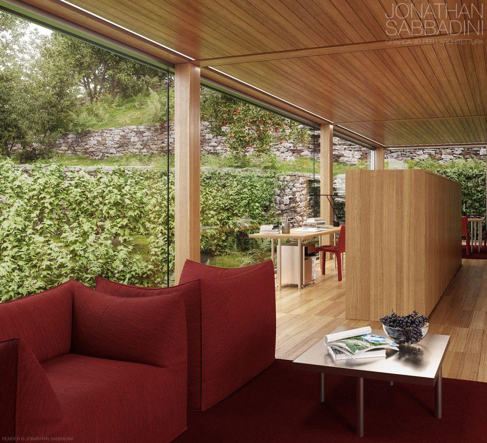 La casa nel vigneto progetto di ivano gianola render for Casa moderna vetrate
